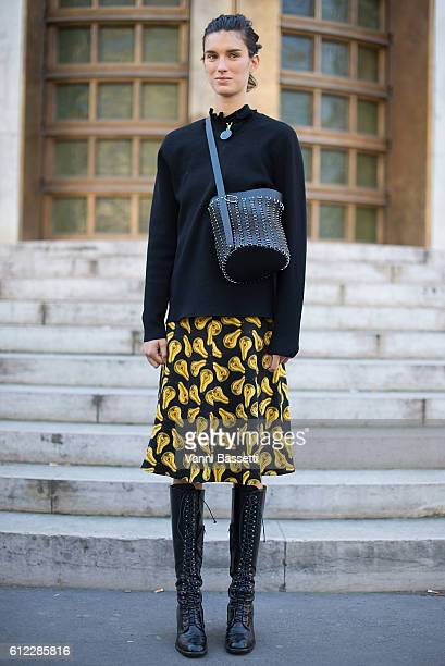 Model Marte Mei van Haaster poses after the Sacai show at the Palais de Tokyo during Paris Fashion Week Womenswear SS17 on October 3 2016 in Paris...