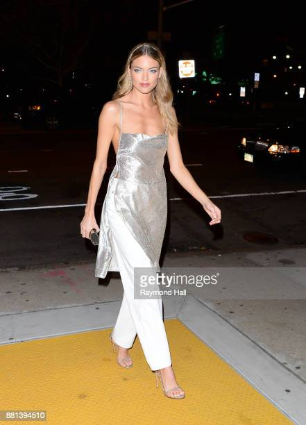 Model Martha Hunt arrives at Victoria's Secret Show viewing on November 28 2017 in New York City