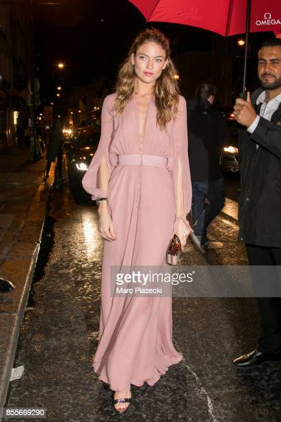 Model Martha Hunt attends 'Her Time' Omega Outside Arrivals as part of the Paris Fashion Week Womenswear Spring/Summer 2018 on September 29 2017 in...