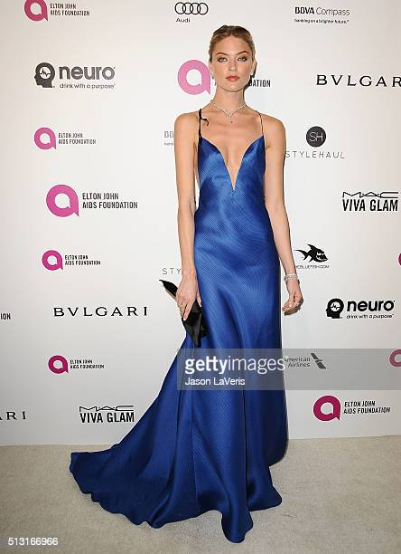 Model Martha Hunt attends the 24th annual Elton John AIDS Foundation's Oscar viewing party on February 28 2016 in West Hollywood California