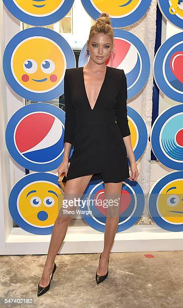Model Martha Hunt attends the opening party and celebration of LOVE From Cave to Keyboard Imagined by Pepsi at 433 Broadway on July 14 2016 in New...
