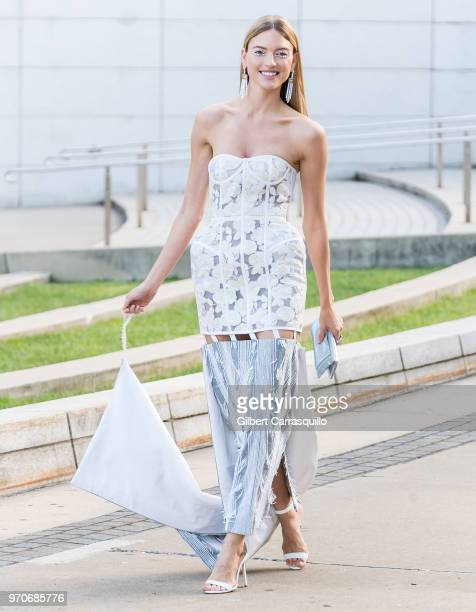 Model Martha Hunt is seen arriving to the 2018 CFDA Fashion Awards at Brooklyn Museum on June 4 2018 in New York City