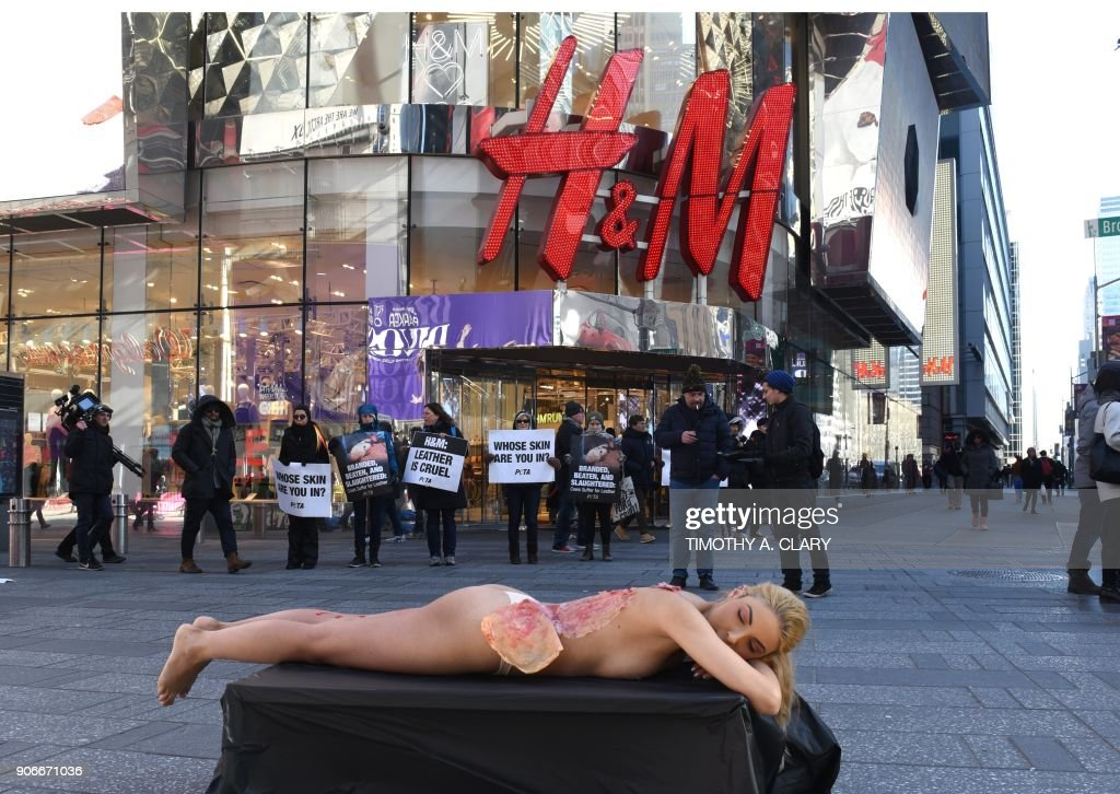 PETA protest outside H&M's flagship store in New York City