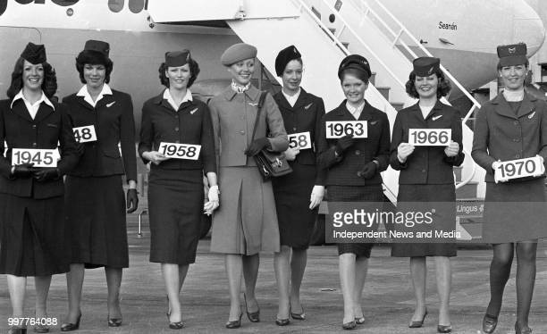 Model Mary O'Callaghan wearing the new Aer Lingus uniform, which contrasts with uniforms worn by hostesses, which show the styles worn since 1945,...