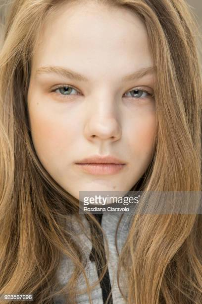 Model Maryna Horda is seen backstage ahead of the Blumarine show during Milan Fashion Week Fall/Winter 2018/19 on February 23 2018 in Milan Italy