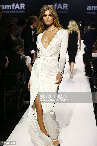 Model Maryna Linchuk walks during the fashion show runway during amfAR's 22nd Cinema Against AIDS Gala Presented By Bold Films And Harry Winston at...