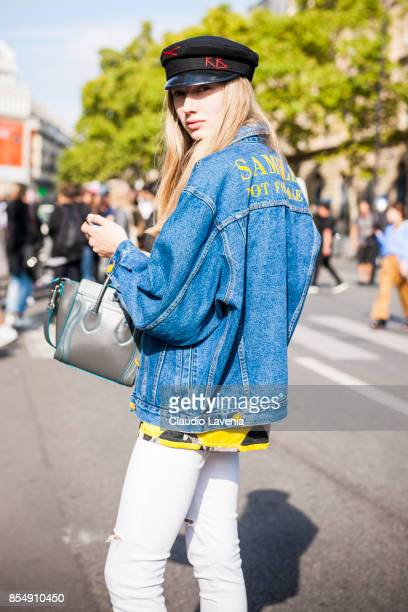 Model Maryna Polkanova is seen after the Dries van Noten fashion show during Paris Fashion week Womenswear SS18 on September 27 2017 in Paris France