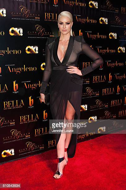 Model Maryse Ouellet arrives at the 2016 City Gala Fundraiser at The Playboy Mansion on February 15 2016 in Los Angeles California
