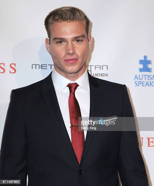 Model Matthew Noszka attends Metropolitan Fashion Week 2016 La Vie En Bleu Signature event benefiting Autism Speaks at Warner Bros Studios on...