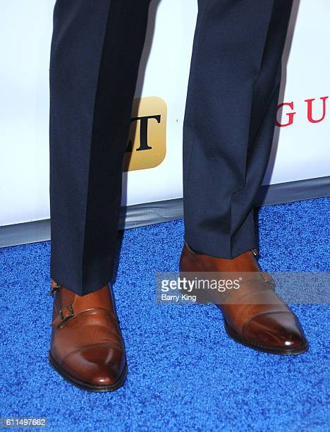 Model Matthew Noszka shoe detail attends Metropolitan Fashion Week 2016 La Vie En Bleu Signature event benefiting Autism Speaks at Warner Bros...