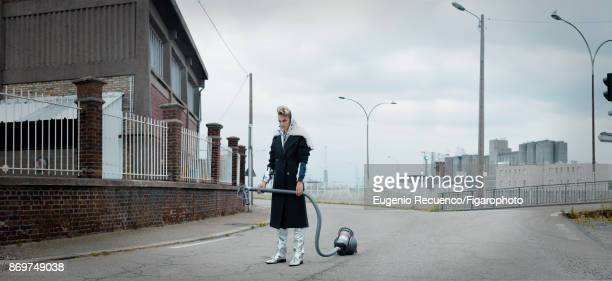 Model poses at a fashion shoot for Madame Figaro on July 19 2017 in Le Havre France Coat and pants jacket shoes Vacuum PUBLISHED IMAGE CREDIT MUST...