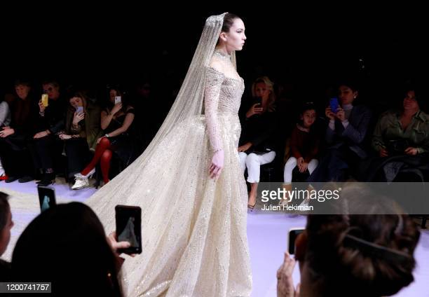 Model Maya Henry walks the runway during the Georges Hobeika Haute Couture Spring/Summer 2020 show as part of Paris Fashion Week on January 20 2020...
