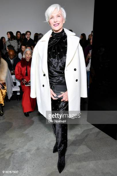 Model Maye Musk attends the Jason Wu front row during New York Fashion Week The Shows at Gallery I at Spring Studios on February 9 2018 in New York...