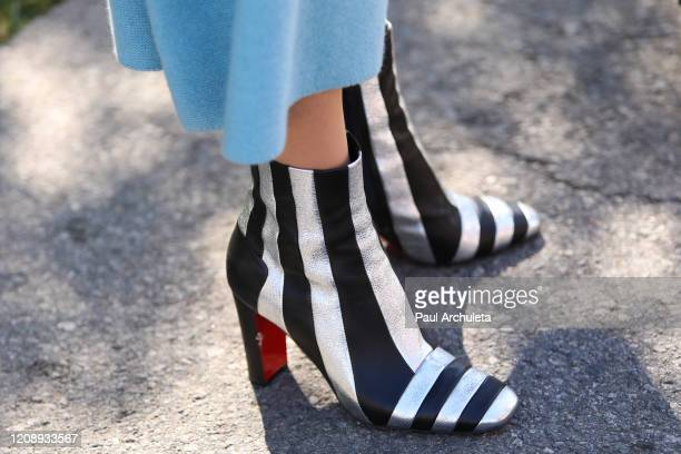 """Model Maye Musk , shoe detail, visits Hallmark Channel's """"Home & Family"""" at Universal Studios Hollywood on February 26, 2020 in Universal City,..."""