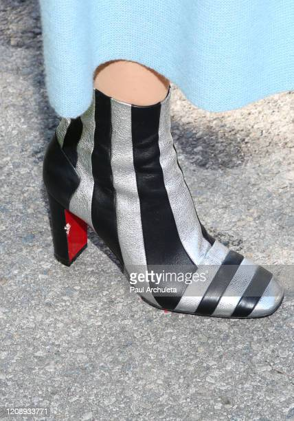 """Model Maye Musk ,shoe detail, visits Hallmark Channel's """"Home & Family"""" at Universal Studios Hollywood on February 26, 2020 in Universal City,..."""