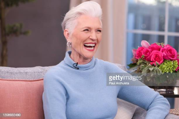 """Model Maye Musk visits Hallmark Channel's """"Home & Family"""" at Universal Studios Hollywood on February 26, 2020 in Universal City, California."""