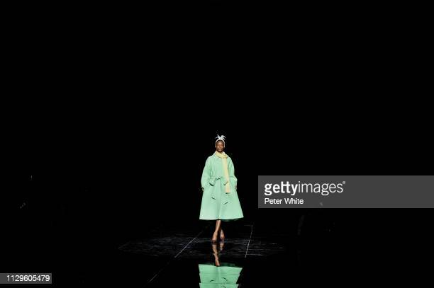 Model Mayowa Nicholas walks the runway at the Marc Jacobs fashion show during New York Fashion Week on February 13 2019 in New York City
