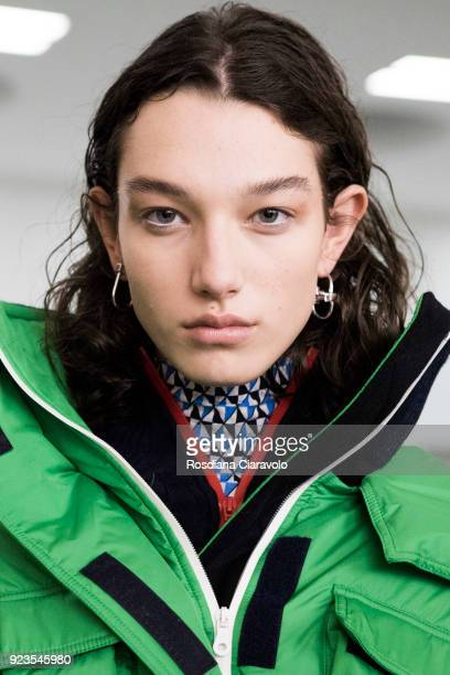 Model McKenna Hellam is seen backstage ahead of the Sportmax show during Milan Fashion Week Fall/Winter 2018/19 on February 23 2018 in Milan Italy