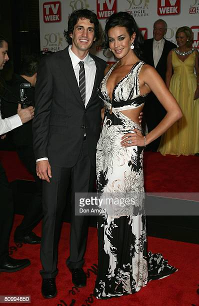 Model Megan Gale and boyfriend Andy Lee arrives on the red carpet at the 50th Annual TV Week Logie Awards at the Crown Towers Hotel and Casino on May...