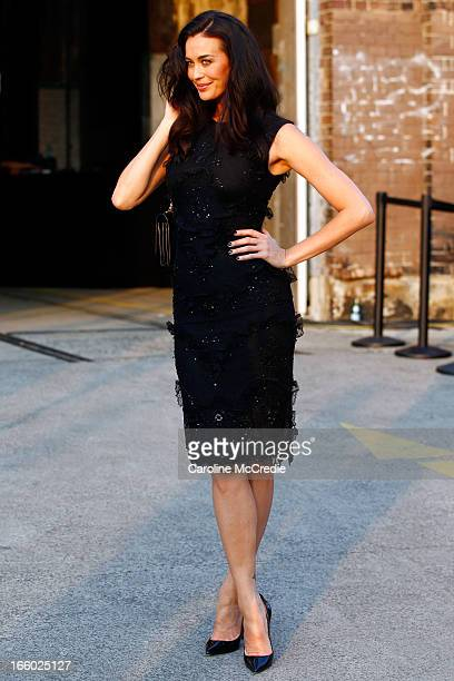 Model Megan Gale attends the Alex Perry show during MercedesBenz Fashion Week Australia Spring/Summer 2013/14 at Carriageworks on April 8 2013 in...
