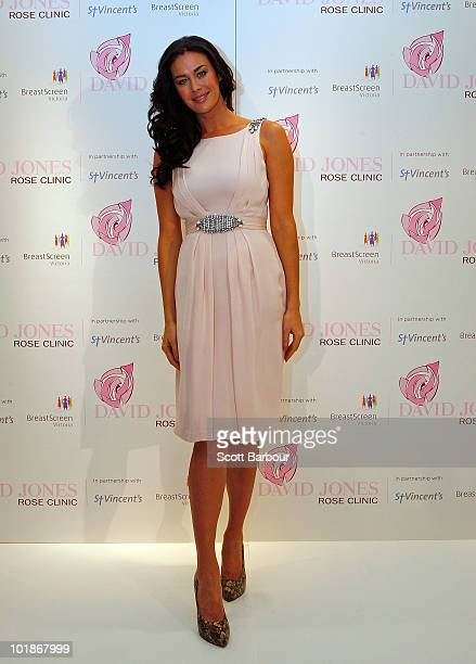 Model Megan Gale poses during the announcement of a new women's health initiative at David Jones Bourke Street Mall on June 8 2010 in Melbourne...