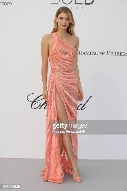 Model Megan Williams arrives at the amfAR Gala Cannes 2018 at Hotel du CapEdenRoc on May 17 2018 in Cap d'Antibes France