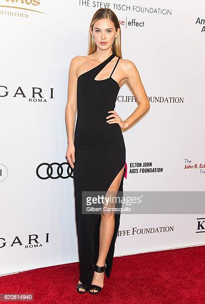 Model Megan Williams attends the 15th Annual Elton John AIDS Foundation An Enduring Vision Benefit at Cipriani Wall Street on November 2 2016 in New...