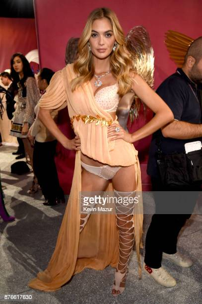 Model Megan Williams poses backstage during 2017 Victoria's Secret Fashion Show In Shanghai at MercedesBenz Arena on November 20 2017 in Shanghai...