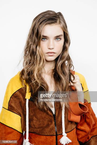 Model Meghan Roche is seen backstage ahead of the Philosophy Di Lorenzo Serafini show during Milan Fashion Week Spring/Summer 2019 on September 22...