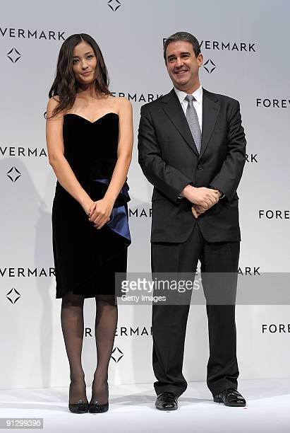 Model Meisa Kuroki and Forevermark International Markets Director David Rudlin attends the first Forevermark Awards at Park Hyatt Tokyo on October 1...