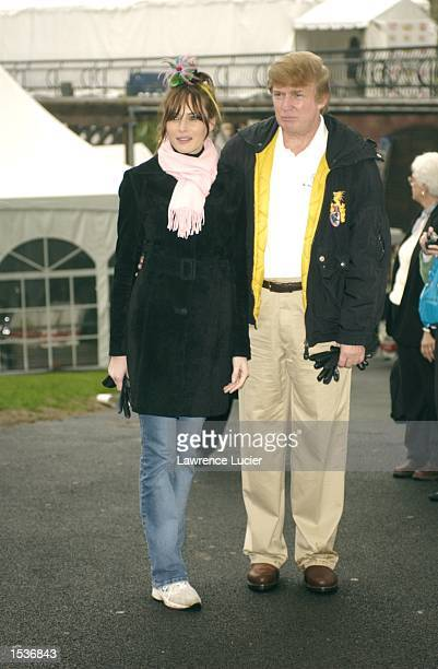 Model Melania Knauss and real estate developer Donald Trump depart the 9th Annual Kids for Kids celebrity carnival April 28 2002 in New York City The...