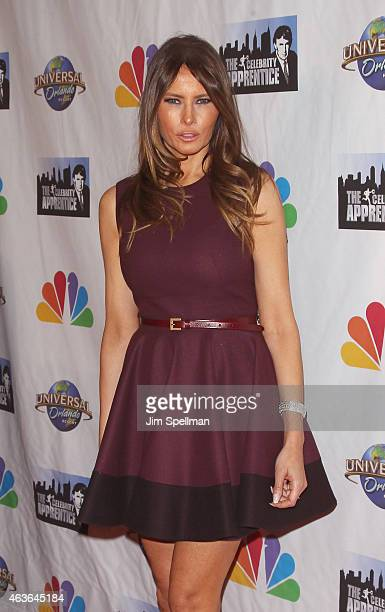 Model Melania Trump attends The Celebrity Apprentice season finale at Trump Tower on February 16 2015 in New York City