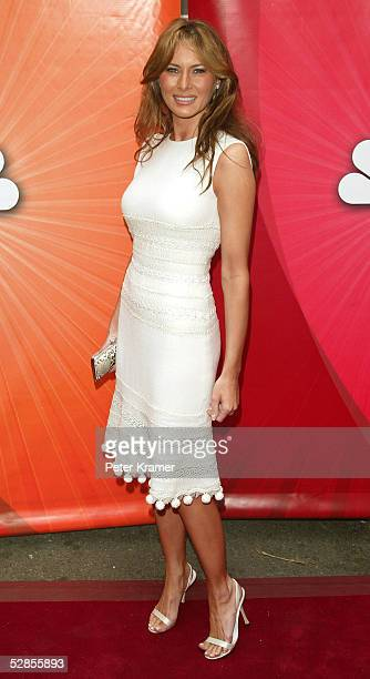 Model Melania Trump attends the NBC upfront at Radio City Music Hall on May 16 2005 in New York City