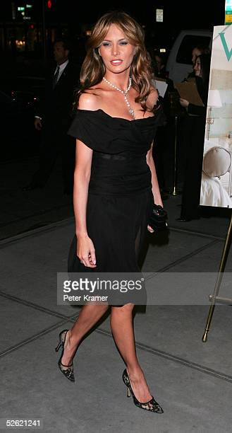 Model Melania Trump attends the opening hosted by Donald Trump of the Veranda penthouse which showcases designers on April 12 2005 at Trump Park...