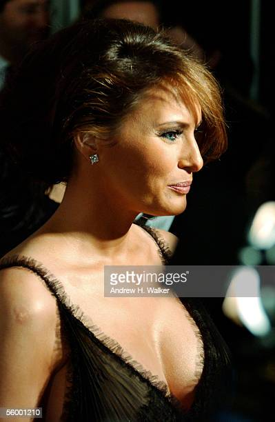Model Melania Trump speaks with reporters at the 250th Anniversary Celebration of luxury watch brand Vacheron Constantin on October 24 2005 in New...