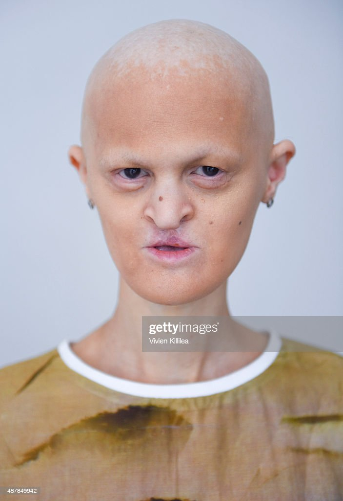 Model Melanie Gaydos wears Mr. Shaun Ross during the Mr. Shaun Ross Presentation at Spring 2016 New York Fashion Week at Splashlight Studios on September 11, 2015 in New York City.