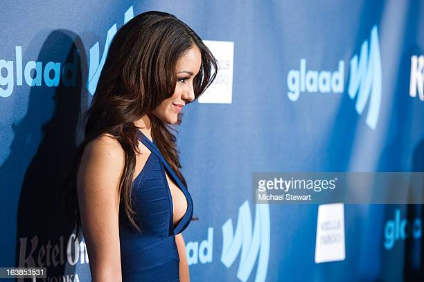 Model Melanie Iglesias attends the 24th annual GLAAD Media awards at The New York Marriott Marquis on March 16 2013 in New York City