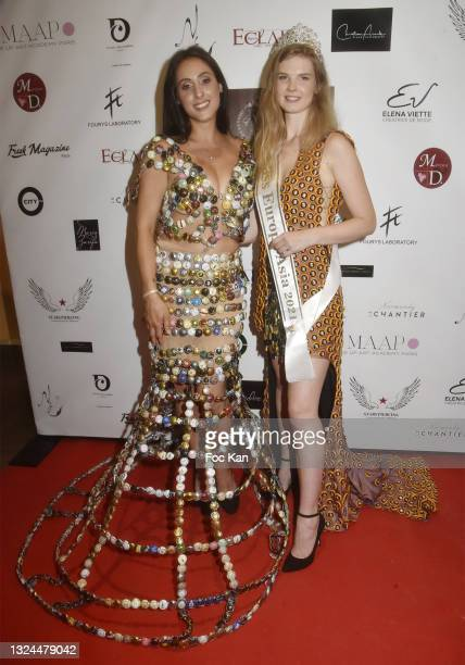 Model Melanie Sordon and Miss Europa Asia 2021 Mariia Arsentieva attend Miss Europe Asia 2021 Contest Ceremony at Hotel Normandy le Chantier on June...