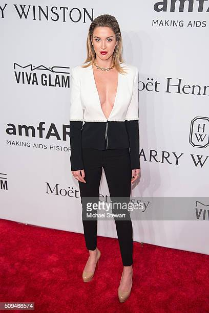 Model Melissa Bolona attends the 2016 amfAR New York Gala at Cipriani Wall Street on February 10 2016 in New York City