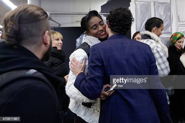 Model Melodie Monrose and designer Zac Posen celebrate at the conclusion of the Zac Posen Fall 2014 Collection during MercedesBenz Fashion Week Fall...