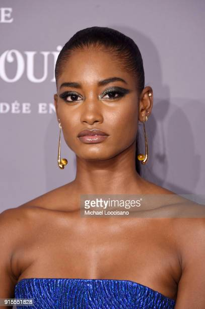 Model Melodie Monrose attends the 2018 amfAR Gala New York at Cipriani Wall Street on February 7 2018 in New York City