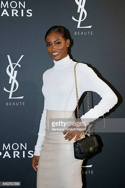 Model Melodie Monrose attends YSL Beauty launches the new Fragrance Mon Paris at Cafe Le Georges on June 14 2016 in Paris France