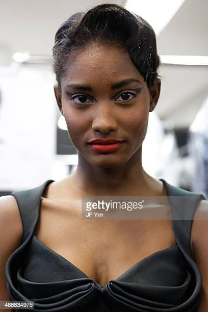 Model Melodie Monrose poses backstage at the Zac Posen Fall 2014 Collection during MercedesBenz Fashion Week Fall 2014 on February 10 2014 in New...