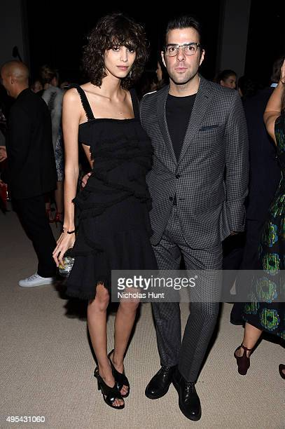 Model Mica Arganaraz and actor Zachary Quinto attend the 12th annual CFDA/Vogue Fashion Fund Awards at Spring Studios on November 2 2015 in New York...