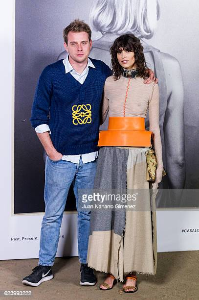 Model Mica Arganaraz and designer Jonathan Anderson attend the 'LOEWE Past Present Future' inauguration exhibition at Jardin Botanico on November 17...