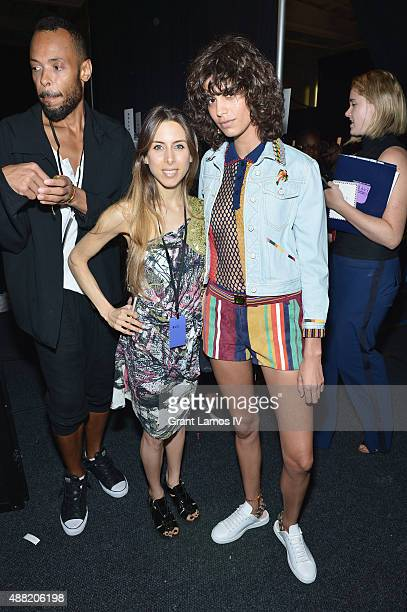 Model Mica Arganaraz poses backstage at Tommy Hilfiger Women's Spring 2016 during New York Fashion Week The Shows at Pier 36 on September 14 2015 in...