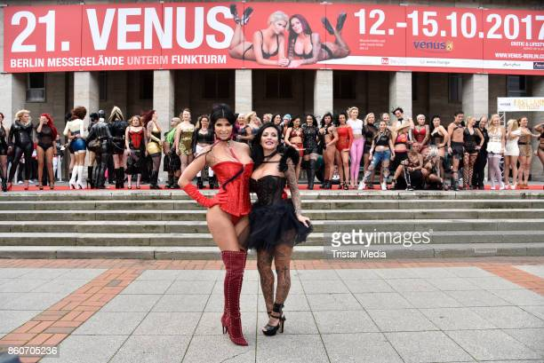 Model Micaela Schaefer and German singer Julia Jasmin Ruehle alias JJ during the red carper Photo Call of Venus Erotic Fair Opening 2017 on October...
