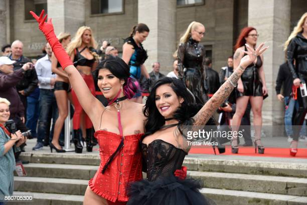 Model Micaela Schaefer and German singer Julia Jasmin Ruehle alias JJ during the red carper Photo Call of Venus Erotic Fair Opening 2017 on October...