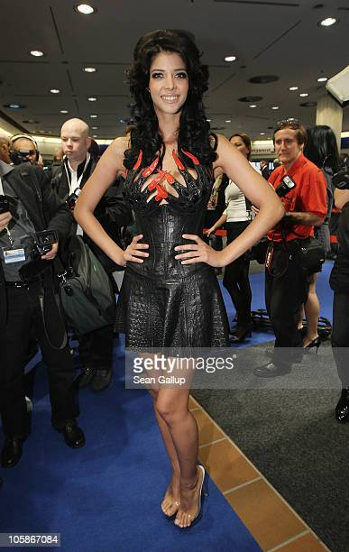 Model Micaela Schaefer attends the opening of the 2010 Venus Erotic Fair at Messe Berlin on October 21 2010 in Berlin Germany