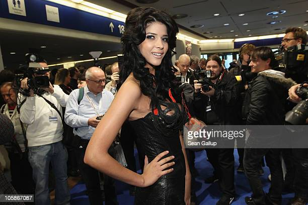 Model Micaela Schaefer attends the opening of the 2010 Venus Erotic Fair at Messe Berlin on October 21 2010 in Berlin Germany